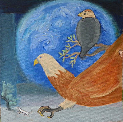 Painting - E Is For Earth Eagles And Ermine Detail From Childhood Quilt by Dawn Senior-Trask