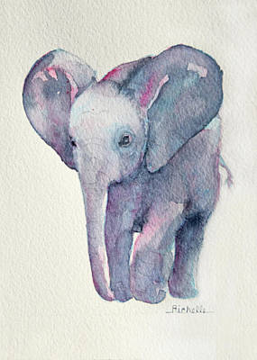 Elephant Painting - E Is For Elephant by Richelle Siska