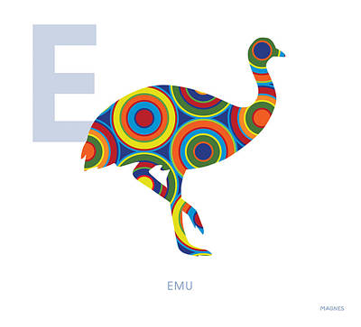 Emu Digital Art - E Is For Emu by Ron Magnes
