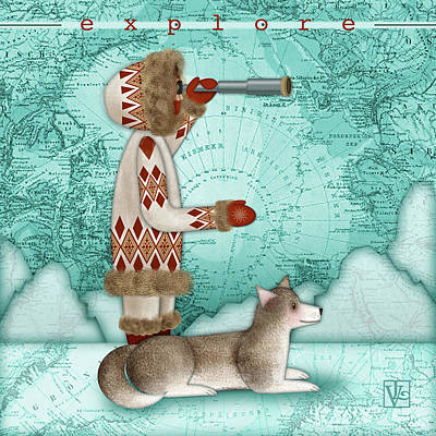 Digital Art - E Is For Eskimo And Explorer by Valerie Drake Lesiak