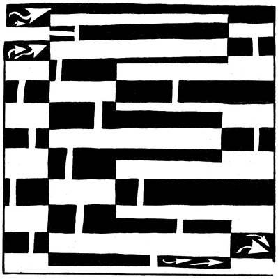 Alphabet Mazes Drawing - E Maze by Yonatan Frimer Maze Artist