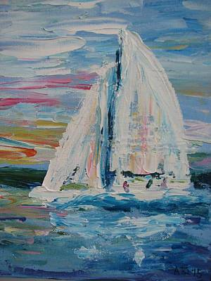 Scow Painting - E-scow On Wawasee by Ann Szeplaki