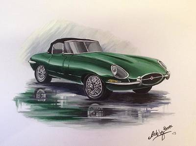 Painting - E Type Jag by Art By Three Sarah Rebekah Rachel White