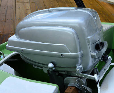 Photograph - Vintage Silver Outboard Boat Motor by David Lee Thompson