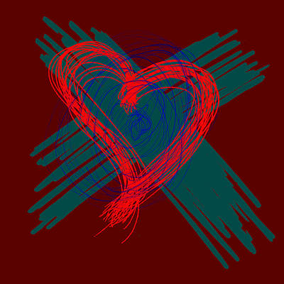 Madonna - E1 - red heart with emerald strokes by Elisabeth R