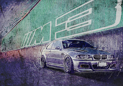E46 Bmw M3 - Bmw M3 - Bmw - M3 - Bmw Art - Bmw Poster - Bmw Gifts - Bmw Prints - Car Poster - Racing Print by Yurdaer Bes
