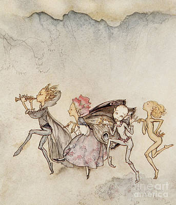 Wings Drawing - Each One, Tripping On His Toe, Will Be Here With Mop And Mow by Arthur Rackham