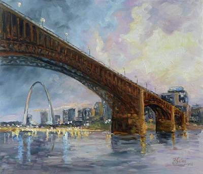 Downtown Painting - Eads Bridge - St.louis by Irek Szelag