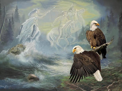 Eagels And Native American  Spirit Riders Art Print