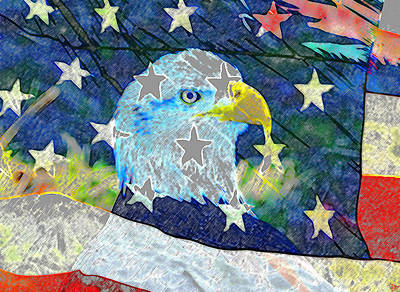 Digital Art - Eagle Americana by David Lee Thompson