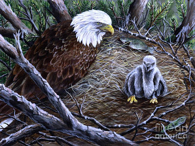 Eaglet Painting - Eagle And Baby by Sharon Molinaro