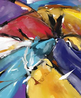 Painting - Eagle And Doves Abstract 1510 by Patric Mouth