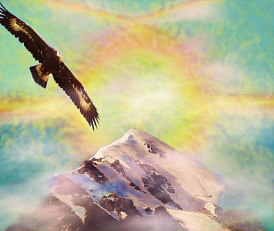 Painting - Eagle And Fire Rainbow Over Mt Tetnuldi Caucasus by Anastasia Savage Ealy