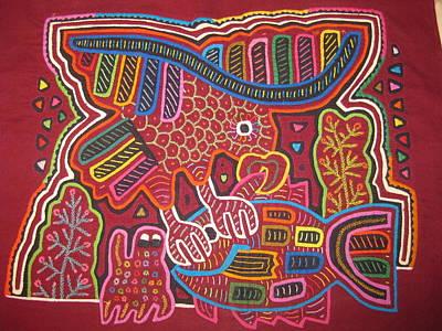 Eagle And His Prey Mola San Blas Panama Original by Rita  Smith