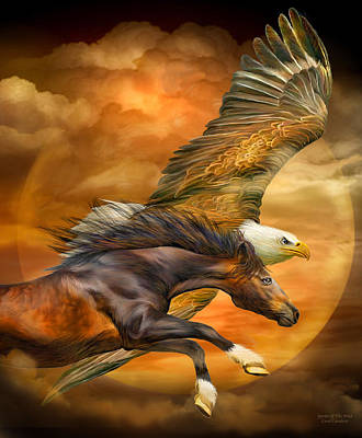 Chestnut Mixed Media - Eagle And Horse - Spirits Of The Wind by Carol Cavalaris