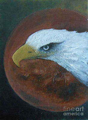 Painting - Eagle And Red Moon by Jane See