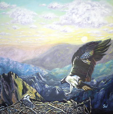 Painting - Eagle At Home by Shirley Wellstead