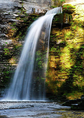 Photograph - Eagle Cliff Falls With Setting Sun Reflections by Optical Playground By MP Ray