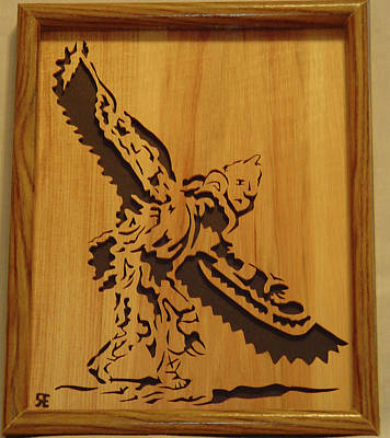 Scroll Saw Sculpture - Eagle Dancer by Russell Ellingsworth