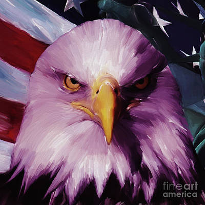 Usa Flag Painting - Eagle Eye  by Gull G