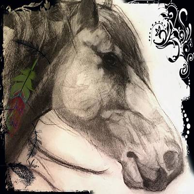 Digital Art - Eagle Feather II Mustang Graphite Drawing by Michele Carter