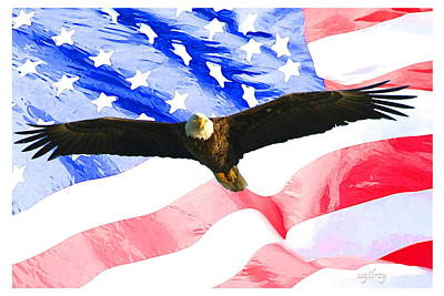 Sebastian Florida Photograph - Eagle / Flag by W Gilroy