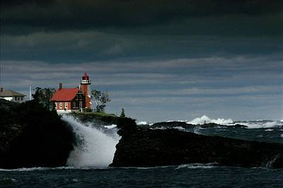 Natural Forces Photograph - Eagle Harbor Lighthouse In Gale Force by Medford Taylor