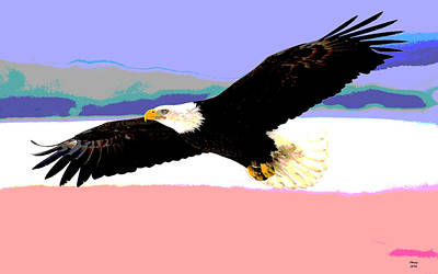 Sandpiper Mixed Media - Eagle In Flight by Charles Shoup