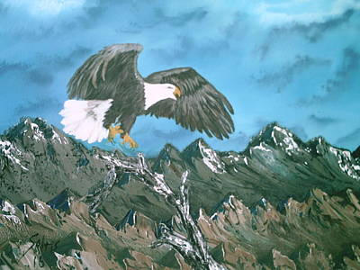 Hawk Hill Painting - Eagle In Flight by Jim Saltis