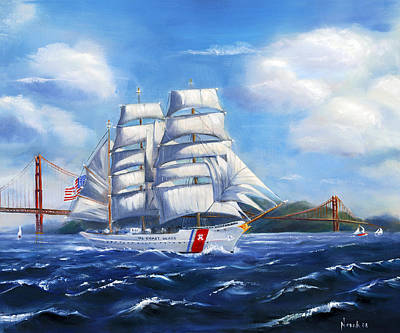 Tall Ships. Marine Art Painting - Eagle In The Gate by Norah Brown