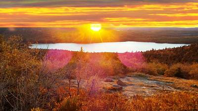 Photograph - Eagle Lake Sunrise-acadia National Park by Mike Breau