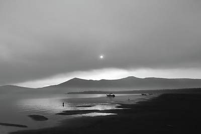 Photograph - Eagle Lake Sunrise In Black And White by Kirsten Giving