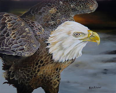 American Eagle Painting - Eagle Landing by Phyllis Beiser