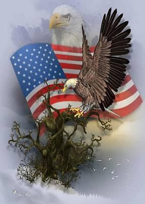 Digital Art - Eagle Lands by Ali Oppy