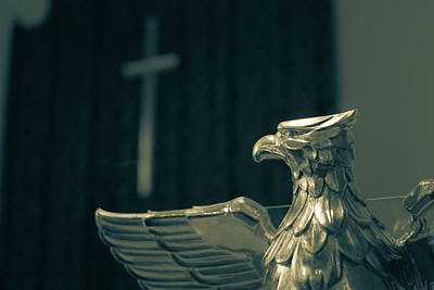 Photograph - Eagle Lectern With Blurred Cross In The Background by Jacek Wojnarowski