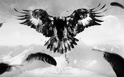 Landscapes Digital Art - Eagle by Maye Loeser