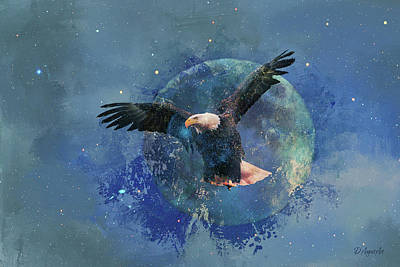 Digital Art - Eagle Moon - Spread Your Wings by Theresa Campbell