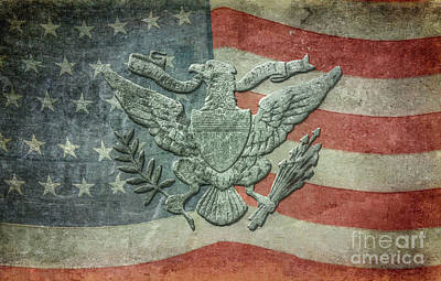 Digital Art - Eagle On American Flag by Randy Steele