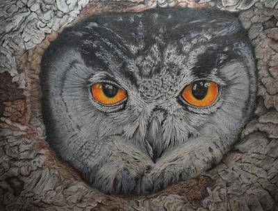 Tree With Eye Painting - Eagle Owl 2 by Biophilic Art
