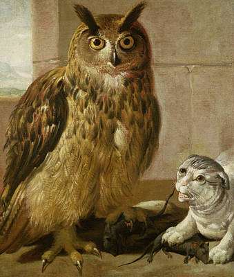 Claw Painting - Eagle Owl And Cat With Dead Rats by Johann Heinrich Roos