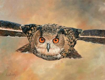 Painting - Eagle Owl by David Stribbling