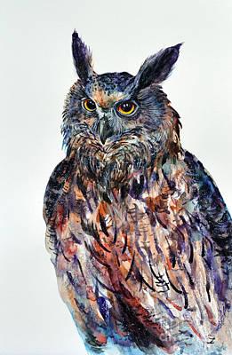 Painting - Eagle-owl by Zaira Dzhaubaeva