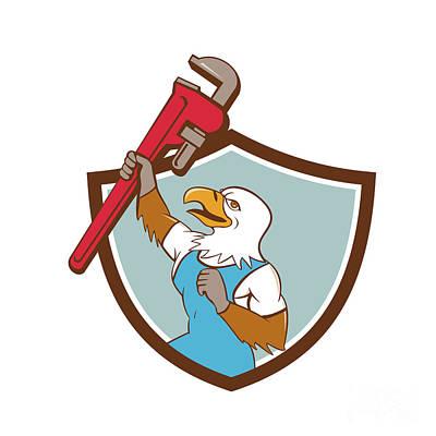 Raising Digital Art - Eagle Plumber Raising Up Pipe Wrench Crest Cartoon by Aloysius Patrimonio