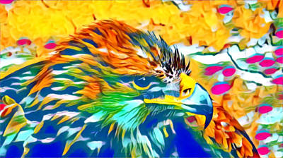Mixed Media - Eagle Pop Art 1 by Ayasha Loya