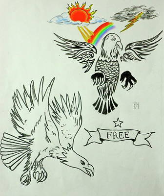 Soaring Drawing - Eagle Spred by Pete Maier