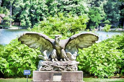 Liberation Painting - Eagle Statue 1 by Lanjee Chee