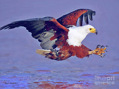 Mixed Media - Eagle Strike by Jerry L Barrett