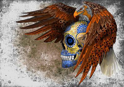 Haunted Mansion Digital Art - Eagle Sugar Skull by Three Second