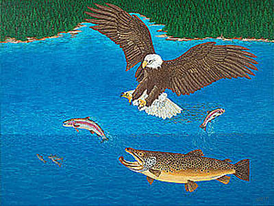 Trout Painting - Eagle Trophy Brown Trout Rainbow Trout Art Print Blue Mountain Lake Artwork Giclee Birds Wildlife by Baslee Troutman