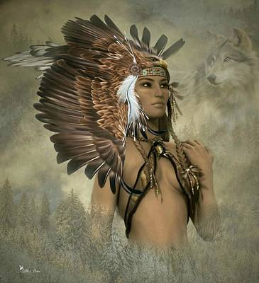 Digital Art - Eagle Warrior Princess by Ali Oppy